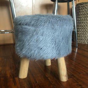 Grey Faux Fur Stool